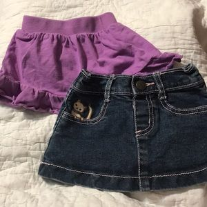 Gymboree Bottoms - Lot of 2 Skirts Blue Jean and Purple Cotton 6-12M